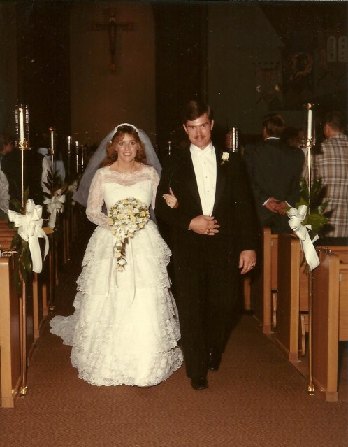 New husband and wife... and so in love.  1985