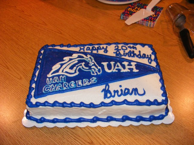 Your 20th birthday cake with a college theme.